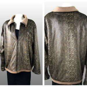 Faux shiny snake print soft fleece lined jacket